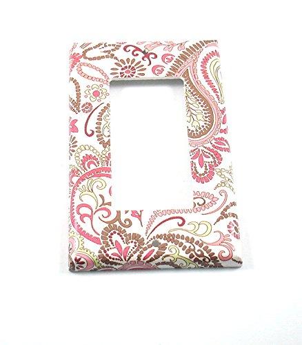- 1 Gang Single Rocker Switch Plate Pink Paisley (099R)