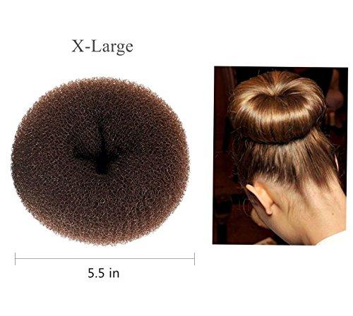 (ClothoBeauty 1 Pcs X-Large Huge Size Hair Bun Donut Maker, Ring Style Bun, Women Chignon Donut Buns Doughnut Shaper Hair Bun maker (For Thick and Long Hair) 5.5 in,)