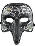 Hagora, Men's Night Guest Short Nosed Gold And Black Tone Sparkly Venetian Mask,Grey Black Silver One Size