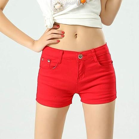 red denim shorts