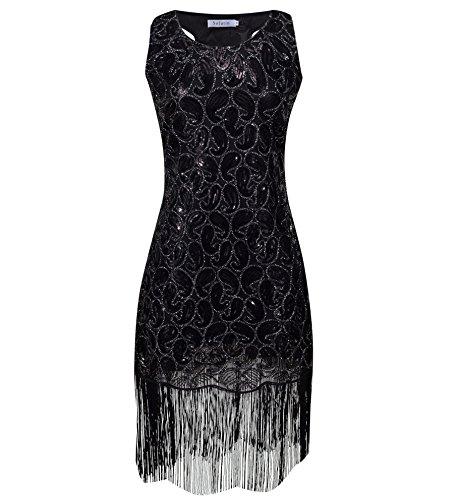 Paisley Vintage Costumes (Solatin Women's Vintage 1920s Sequined Embellished Fringed Paisley Flapper Dresses(Black XS))