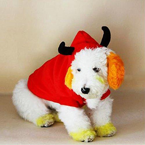 [TTnight Devil Hoodie Cat Dog Clothes Pet Coat Puppy Costume Winter Xmas Halloween] (Devil Costume For Dog)