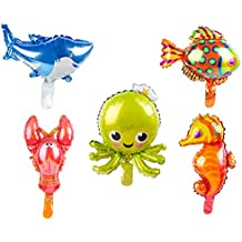 5 Pack Marine Sea Animals Foil Balloons Shark Octopus Sea Horse Tropical Fish Lobster Mylar Balloons for Kids Birthday Party Favors Carnival Festival Decoration (Mini)
