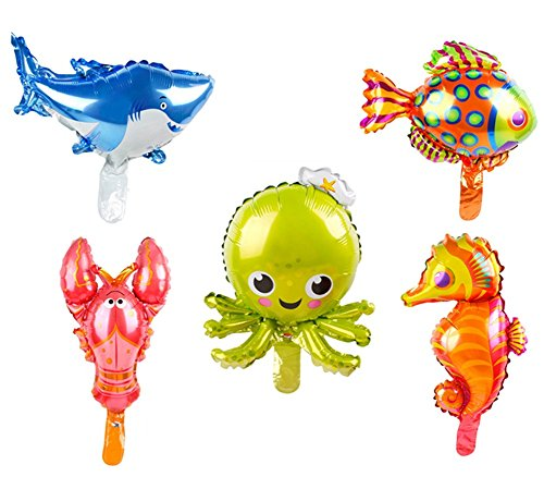 5 Pack Marine Sea Animals Foil Balloons Shark Octopus Sea Horse Tropical Fish Lobster Mylar Balloons for Kids Birthday Party Favors Carnival Festival Decoration ()