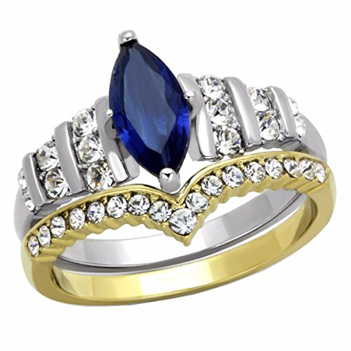 Lanyjewelry Womens Blue Marquise Cut CZ Two Tone Gold Stainless Steel Wedding RING SET - SIZE 8 ()
