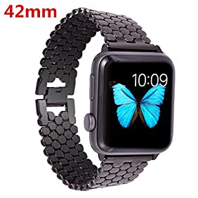 Lwsengme Apple Watch Band,Lwsengme Steel Wrist Band with Adjustable Buckle for Apple iWatch/New Apple iWatch Series 2/ Apple Watch Series 1/Nike+ (42mm-Dark Metal)