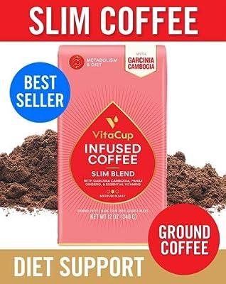 VitaCup Slim Blend Ground Coffee Bags 12oz   Diet & Metabolism   Garcinia & Ginseng   Keto & Paleo Friendly   Vegan   B Vitamins   for Drip Coffee Brewers and French Press