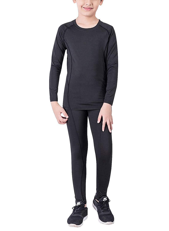 Boys Hockey Base Layer Moisture Wicking Quick Dry Underwear Crew Neck Thermal Shirt Leggings 2 Pcs