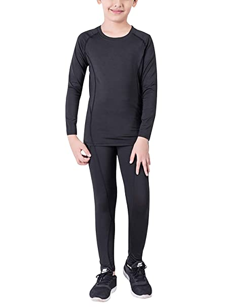 d73eddd9472 Boys Hockey Base Layer Moisture Wicking Quick Dry Underwear Crew Neck  Thermal Shirt Leggings 2 Pcs  Amazon.ca  Clothing   Accessories