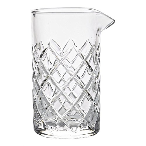 (Cocktail Mixing Glass/Bar Mixing Glass 25oz / 750ml, Clear - Diamond Cut Pattern, Japanese Style [Lead Free])