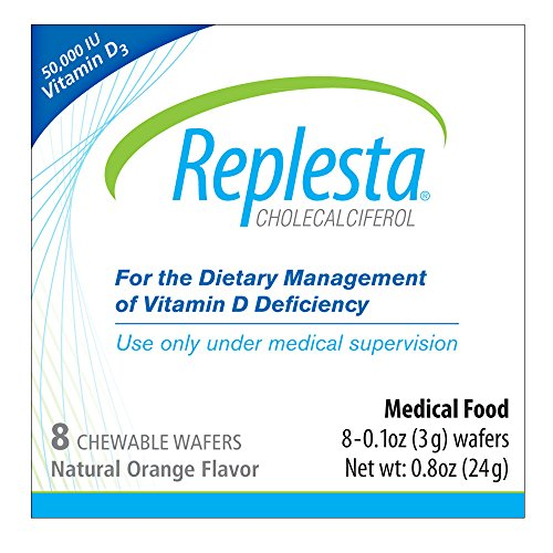 Replesta 50,000 IU Vitamin D3 Cholecalciferol Vitamin D Deficiency Chewable Wafer, Natural Orange Flavor, 8 Pack
