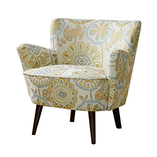 Mid Century Retro Style Yellow and Blue Floral Print Upholstered Accent Armchair with Tapered Espresso Wood Legs - Includes ModHaus Living Pen