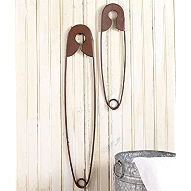 Set of 2 Large Hanging Safety Pins Rustic Color Laundry Room Wall Home Decoration