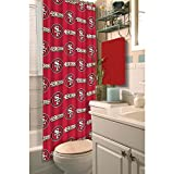 1pc Red NFL San Francisco 49ers Football Sports Themed Shower Curtain, Official Colorful Team Logo Printed, True Color, Polyester Detailed Sports Pattern, All Seasons, Modern Elegant Design