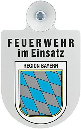 Paco Deutschland E K Feuerwehr Im Einsatz Kfz Aluschild Mit Saugnapf Und Bundesland Wappen Bayern Auto