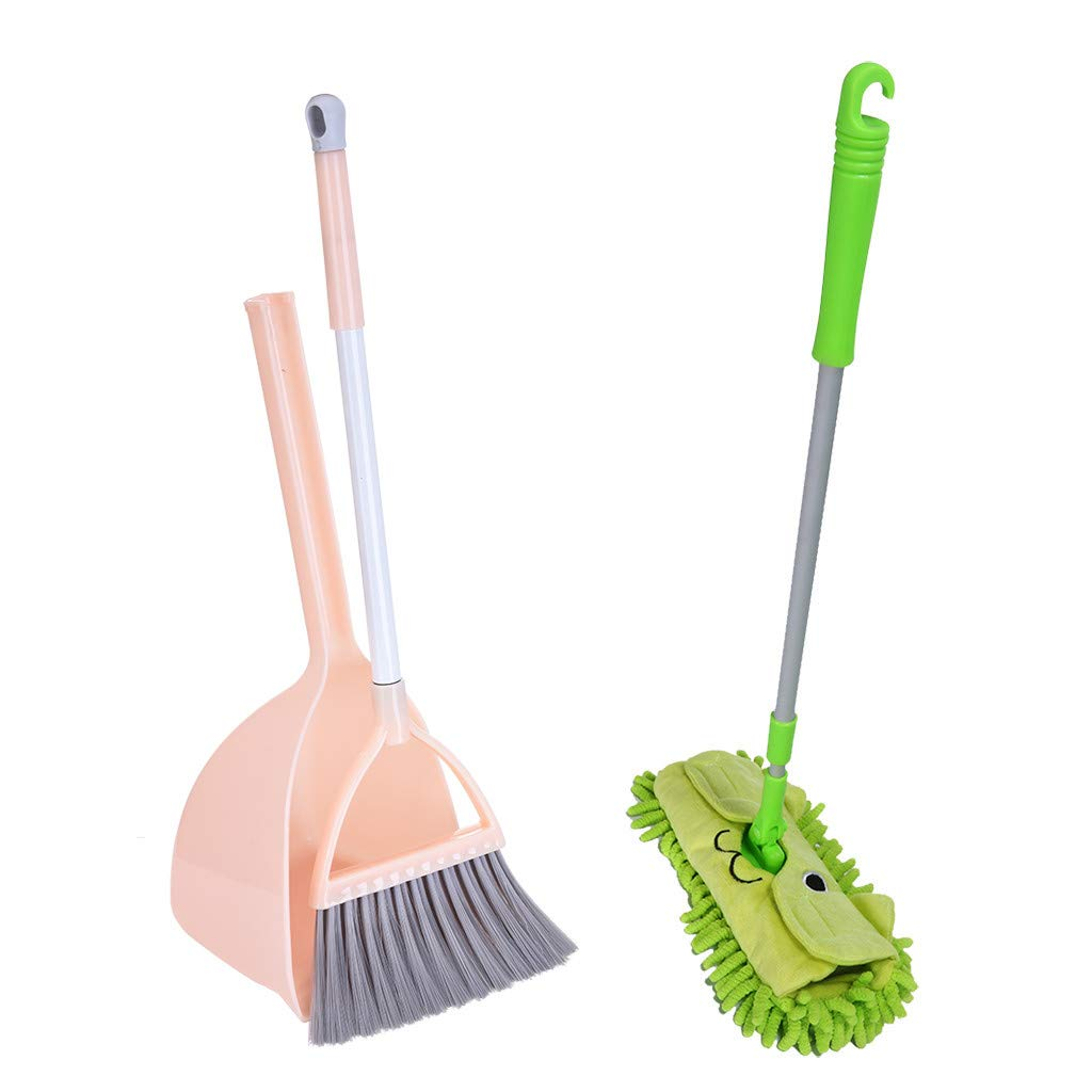Mini Housekeeping Cleaning Tools Set for Children,3pcs Include Complete Adorable Small Mop, Small Broom, Small Dustpan for Kids (Green+ Orange) by ReallyGO-US Direct