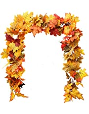 Coolrunner 2 Pcs Fall Maple Leaf Garland, Artificial Fall Leaves Garland, 5.9FT Hanging Vine Garland Artificial Autumn Foliage Garland for Home Garden Wall Doorway Backdrop Fireplace Thanksgiving Dec