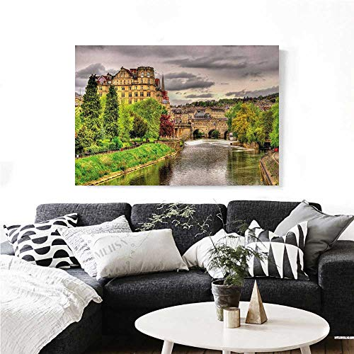 Landscape Canvas Wall Art for Bedroom Home Decorations Nature Themed View of Bath Town Over The River Avon in England Digital Print Art Stickers 24