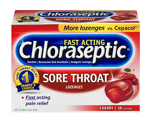 Chloraseptic Sore Throat Lozenges   Cherry   18 ct   Fast Acting Pain (Fast Acting Relief Berry)