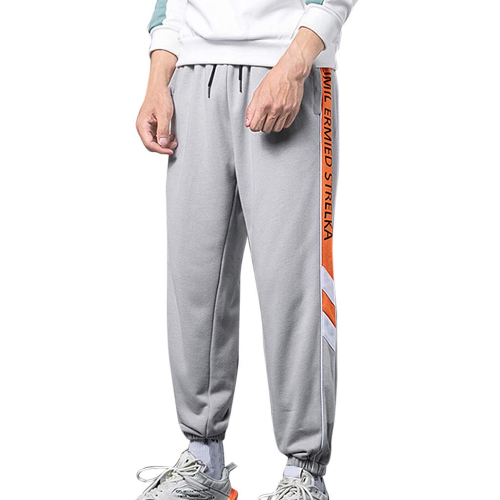 ✚Coollevis✚ ❥ Men's Straight Leg Fashion Loose Patchwork Pockets Outdoor Casual Drawstring Sports Ankle-Length Pants Gray