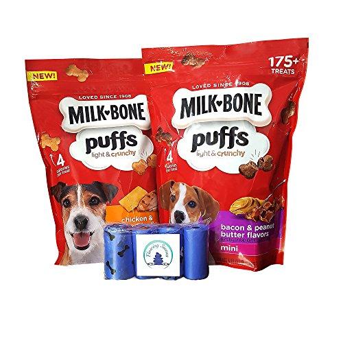 Milkbone Puffs Mini Variety Bundle With Flowing Stones Waste Bags ()