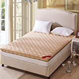 Yellow star Non-slip tatami floor mat, Portable sleeping pad quilted futon mattress topper foldable cushion mats dorm bed protection pad-C 90x200cm(35x79inch)
