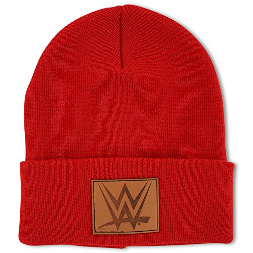 WWE Mens Acrylic Knit Cuffed Winter Watchman Cuffed Beanie Hat With Debossed P.U. Patch Logo, Red, One Size