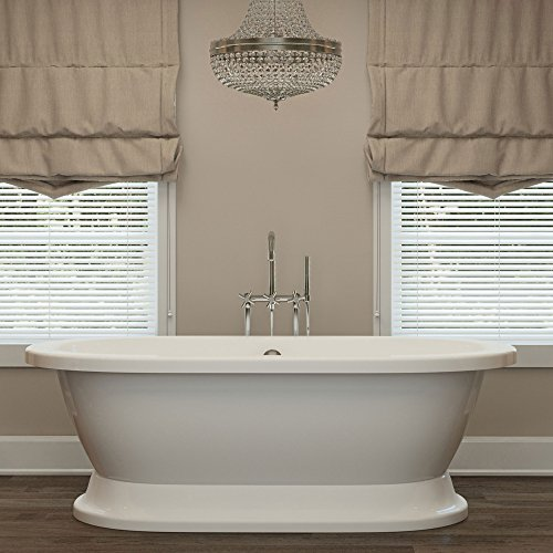 Luxury 67 inch Freestanding Tub with Modern Tub Design in White, Includes Pedestal Base and Polished Chrome Drain, From The Crestmont Collection (Best Soaker Tub For The Money)