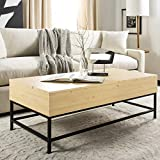 Safavieh FOX2239B Home Collection Astrid Copper Faceted Coffee Table, Light Oak/Black