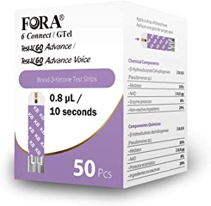 FORA 6 Connect 50 Blood Ketone Test Strips, Ideal for Keto Diet and Low Carb Weight Loss