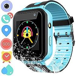 Waterproof Smart Watch For Girls Boys - Ip67 Waterproof Children Smartwatch Phone With Sim Slot Gpslbs Tracker Sos Camera Anti-lost For Summer Outdoor Sports Watch (01 S7 Blue Waterproof)