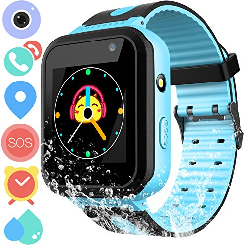 Waterproof GPS Tracker Watch for Kids - IP67 Water-resistant Smartwatches Phone with GPS/LBS Locator SOS Camera Voice Chat Games for Back to School Children Boys Girls (03 S7 Blue Standard)