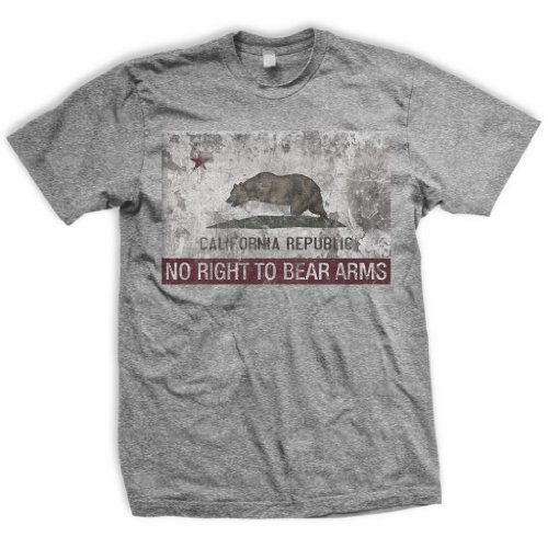 ENDO Apparel California Flag Right to Keep and Bear Arms Infringed Men's T-Shirt X-Large Heather Grey