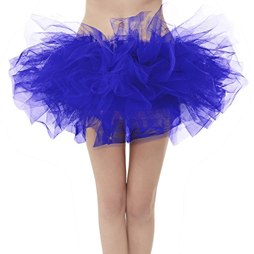 Girstunm Women's Classic Layers Fluffy Costume Tulle Bubble Skirt Royal Blue-Standard Size]()