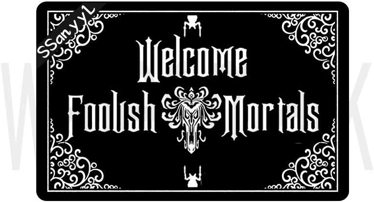 """Funny Front Door Mat Haunted Mansion Welcome Mat Rubber Non Slip Backing Funny Doormat for Outdoor/Indoor Uses, Low-Profile Rug Mats for Entry 23.6""""(W) X 15.7""""(L)"""