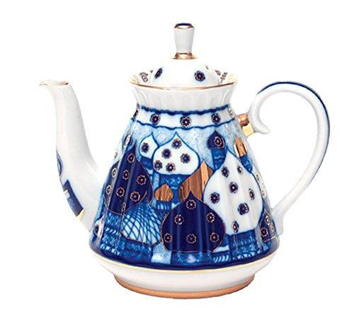 (Lomonosov Porcelain Tea Pot Orthodox Domes Church Bells 5 cups 25 oz/750 ml)