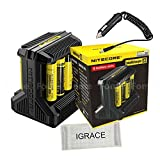 Smart Battery Charger, iGrace Nitecore i8 Intelligent Multi-slot Charger with USB Output for Li-ion / IMR / Ni-MH/ Ni-Cd 26650 22650 18650 18490 18350 17670 17500 16340 RCR123 14500 10440 AA AAA C D