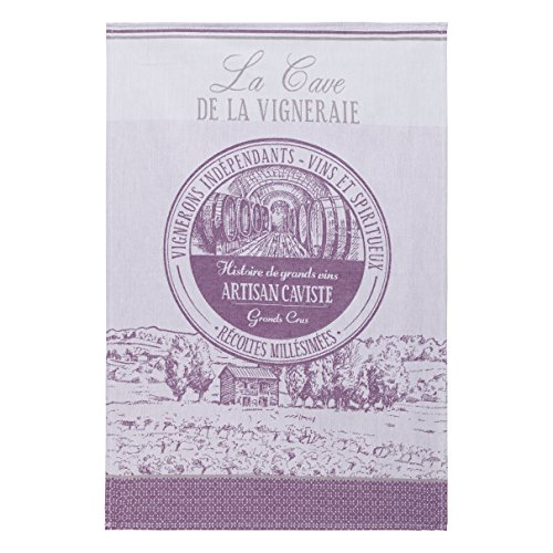 Coucke French Cotton Jacquard Towel French Cuisine Collection, Caviste (Wine Shop), 20-Inches by 30-Inches, Purple and Tan by COUCKE