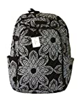 Vera Bradley Laptop Backpack (Updated Version) with Solid Color Interiors (Blanco Bouquet with Black Interior)
