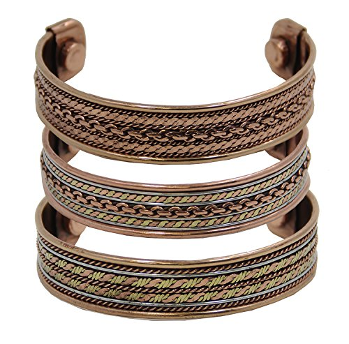 DharmaObject® Lot of 3pcs Powerful Magnetic Copper Cuff Bracelet for Arthritis and Golf Sport Aches and Pains