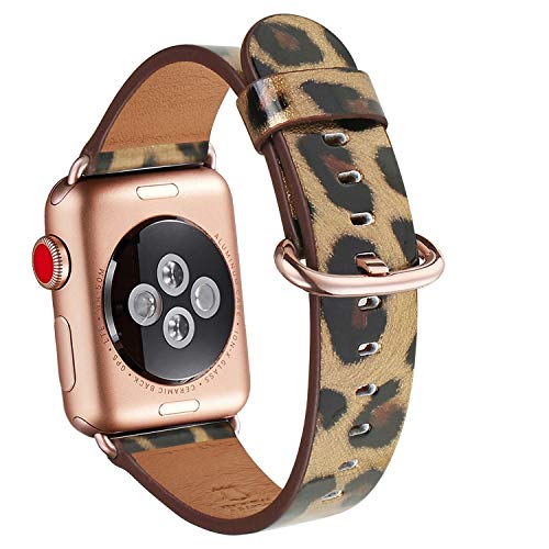 WFEAGL Compatible iWatch Band 40mm 38mm, Top Grain Leather Band with Gold Adapter (The Same as Series 4/3 with Gold Aluminum Case in Color) for iWatch Series 4/3/2/1 (Leopard Band+Rosegold Adapter)