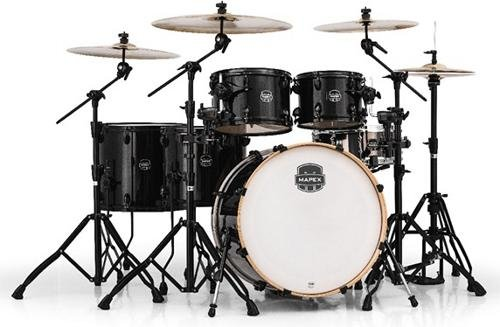 MAPEX AR628SFUBTB Armory Series Studioease Fast 6-Piece Drum Shell Pack, Transparent Black