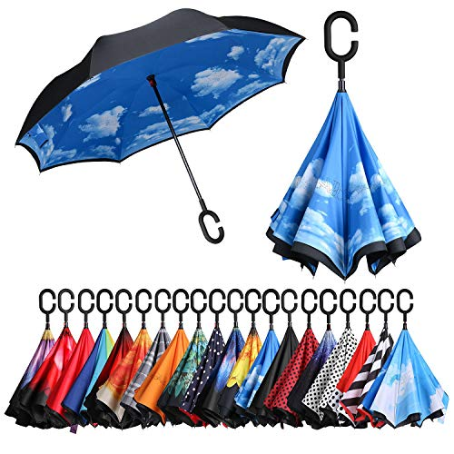 BAGAIL Double Layer Inverted Umbrellas Reverse Folding Umbrella Windproof UV Protection Big Straight Umbrella for Car Rain Outdoor with C-Shaped Handle Sky