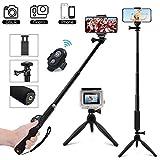 MCSWKEY Palo Selfie Trípode, Bluetooth Selfie Stick Trípode con Control Remoto 3 en 1 Monopod Soporte móvil 360° Rotacion para Cámaras/Gopro/iPhone/Samsung/Huawei y Otros Smartphone