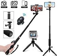 MCSWKEY Palo Selfie Trípode, Bluetooth Selfie Stick Trípode con Control Remoto 3 en 1 Monopod Soporte móvil 360° Rotacion pa