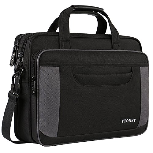 Ytonet Laptop Bag, 15 Inch Laptop Briefcase, Water Resistant Nylon Laptop Bag for Women Men Business Travel Office School College with Shoulder Strap Fits up to 15.6 Inch Laptop Tablet-Black and Grey