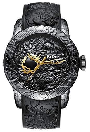 - Men Fashion 3D Engraved Dragon Quartz Watch Luxury Brand Big dial Waterproof Sport Creative Wristwatches (Black)