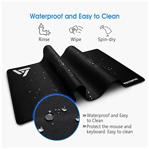 VicTsing Gaming Mouse Mat XXL Comfortable Extended Large Mouse Pad Waterproof Keyboard Mat with Non-Slip Base, Stitched Edges, Smooth Surface for Computer and Desk (800x400x2.5 mm)-Black
