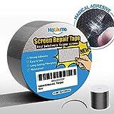 Holikme Window Screen Repair Kit Door Window Fly Lanai Screen Repair Patch Tape Strong Adhesive Long Lasting Fiberglass Covering Wire Mesh Repair Tape Seal for Repair Holes Tears (2×80inch)