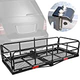 """XCAR High Side Folding Hitch Mount Rear Cargo Rack Carrier Luggage Basket 59"""" L x 24"""" W x 14'' H with Anti-Rattle Stabilizer Fits 2"""" Receiver Car SUV Truck - Great for Camping, Road Trip"""